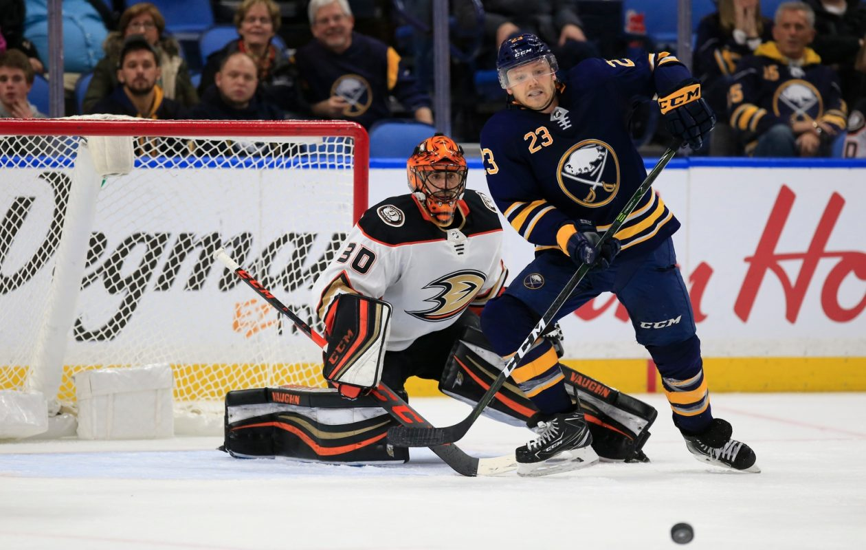 Sabres coach Phil Housley wants Sam Reinhart and Buffalo's other players to get in front of Ryan Miller and the other goaltenders. (Harry Scull Jr./Buffalo News)
