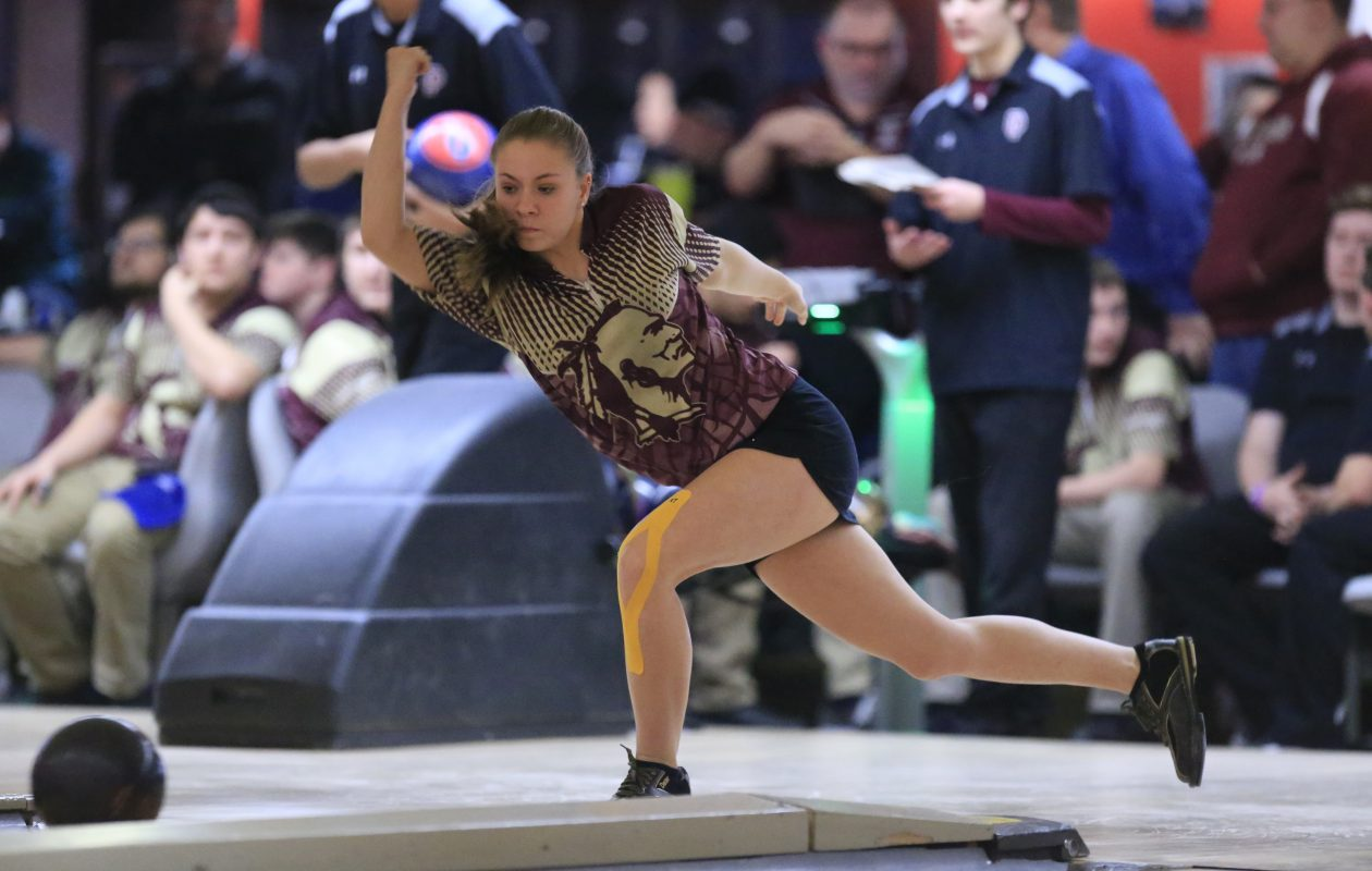 Emily Crone leads Cheektowaga into action during the Section VI girls bowling championship this week at Airport Lanes. (Harry Scull Jr./ Buffalo News)