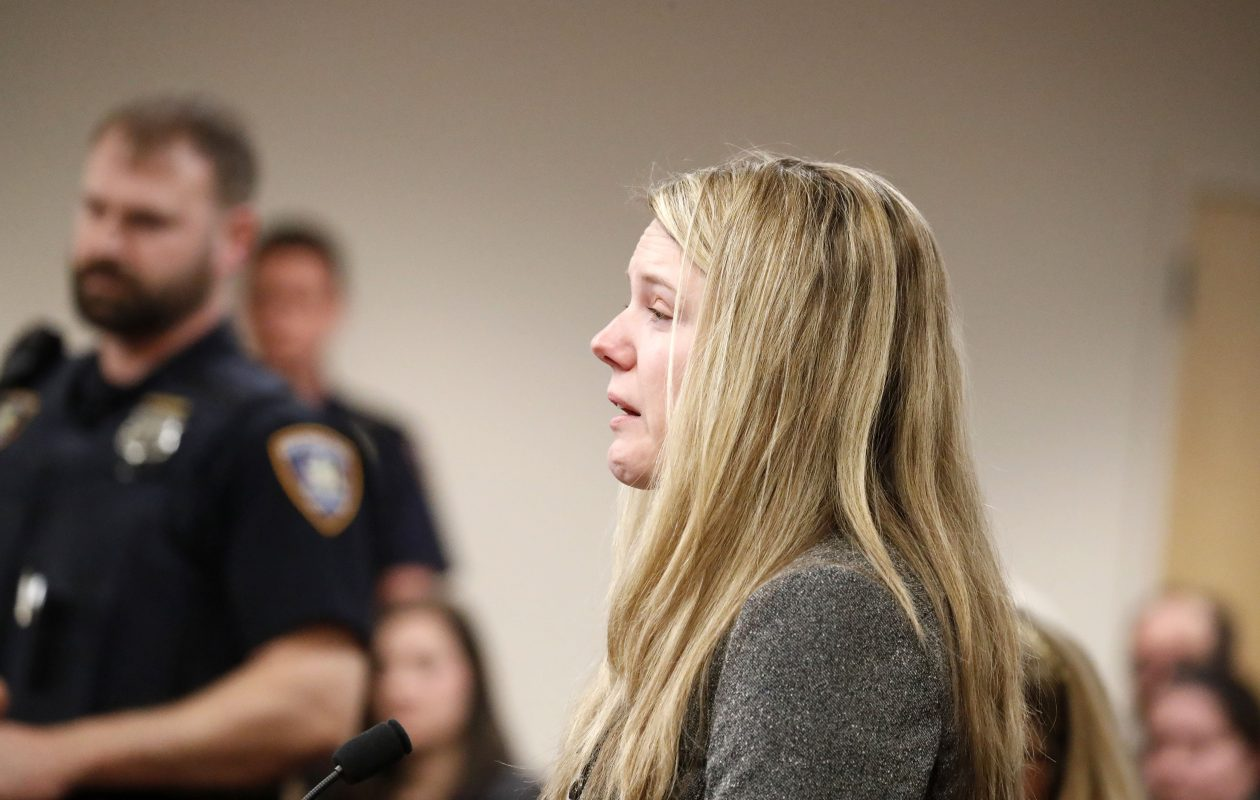 Brittany Gruttadauria speaks before the sentencing of Edward Kuebler III who received 1-3 years in the hit and run that left Dana Papaj with a life-changing traumatic brain injury.  (Mark Mulville/Buffalo News)
