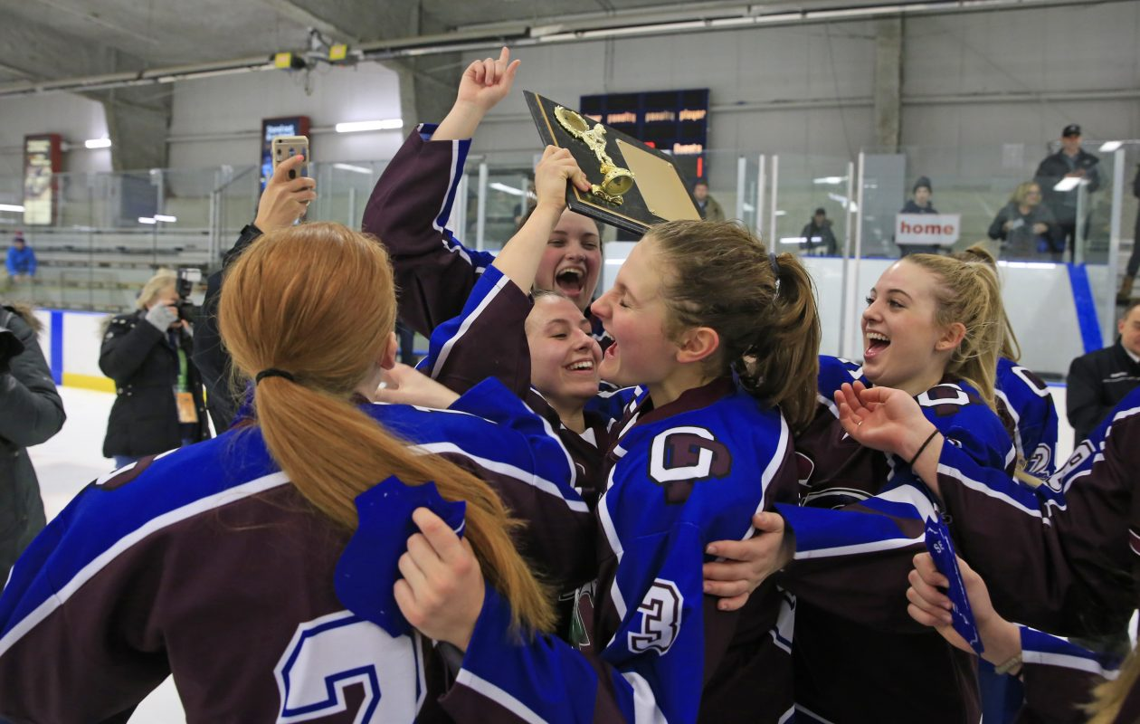 FLOP  players celebrate after winning their second straight Section VI girls hockey championship Wednesday. (Harry Scull Jr./ Buffalo News)