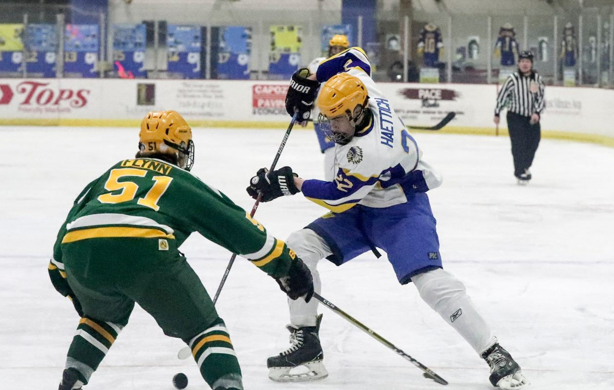 West Seneca West's Kyle Haettich tries to maneuver his way past West Seneca East's Damond Flynn. Haettich had two assists as the Indians blew by their crosstown rivals, 8-3.  (James P. McCoy/Buffalo News)