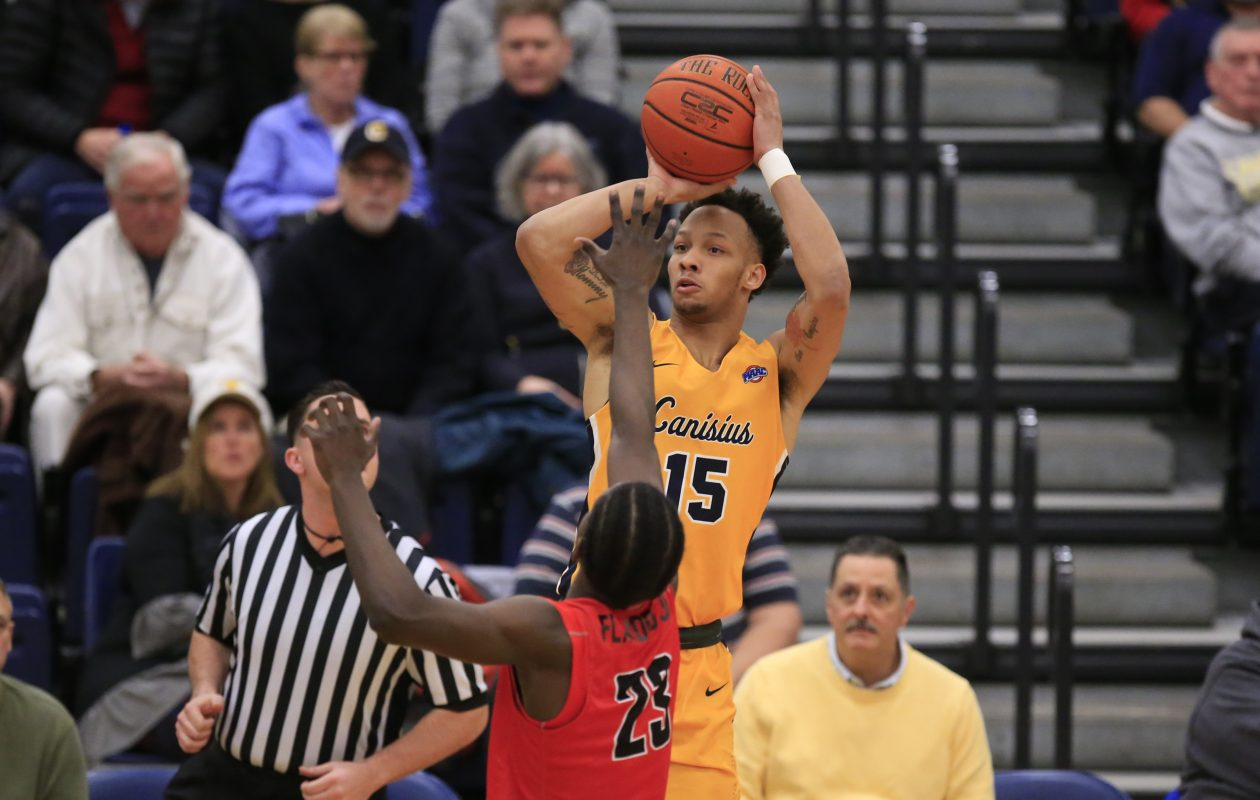 Canisius forward Takal Molson shoots against Fairfield during first half action at the Koessler Center on Monday, Feb. 12, 2018. (Harry Scull Jr./Buffalo News)