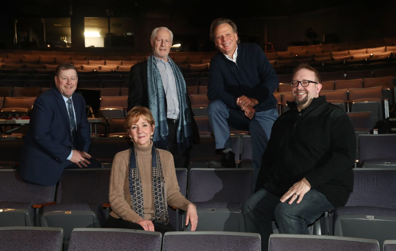 The five producers collaborating on 'The Three Musketeers,' from left, are Michael Murphy of Shea's, Meg Quinn of the  Theatre of Youth, Vincent O'Neill of Irish Classical Theatre,  Randy Kramer of MusicalFare and Scott Behrend of Road Less Traveled Productions.  (Sharon Cantillon/Buffalo News)