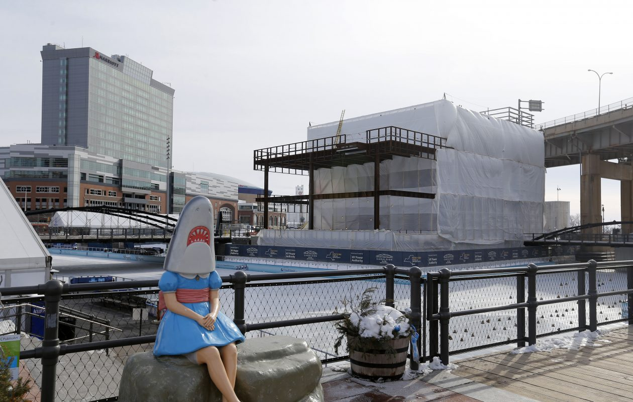 Construction continues on the Explore & More Children's Museum next to Canalside in Buffalo. (Mark Mulville/Buffalo News)
