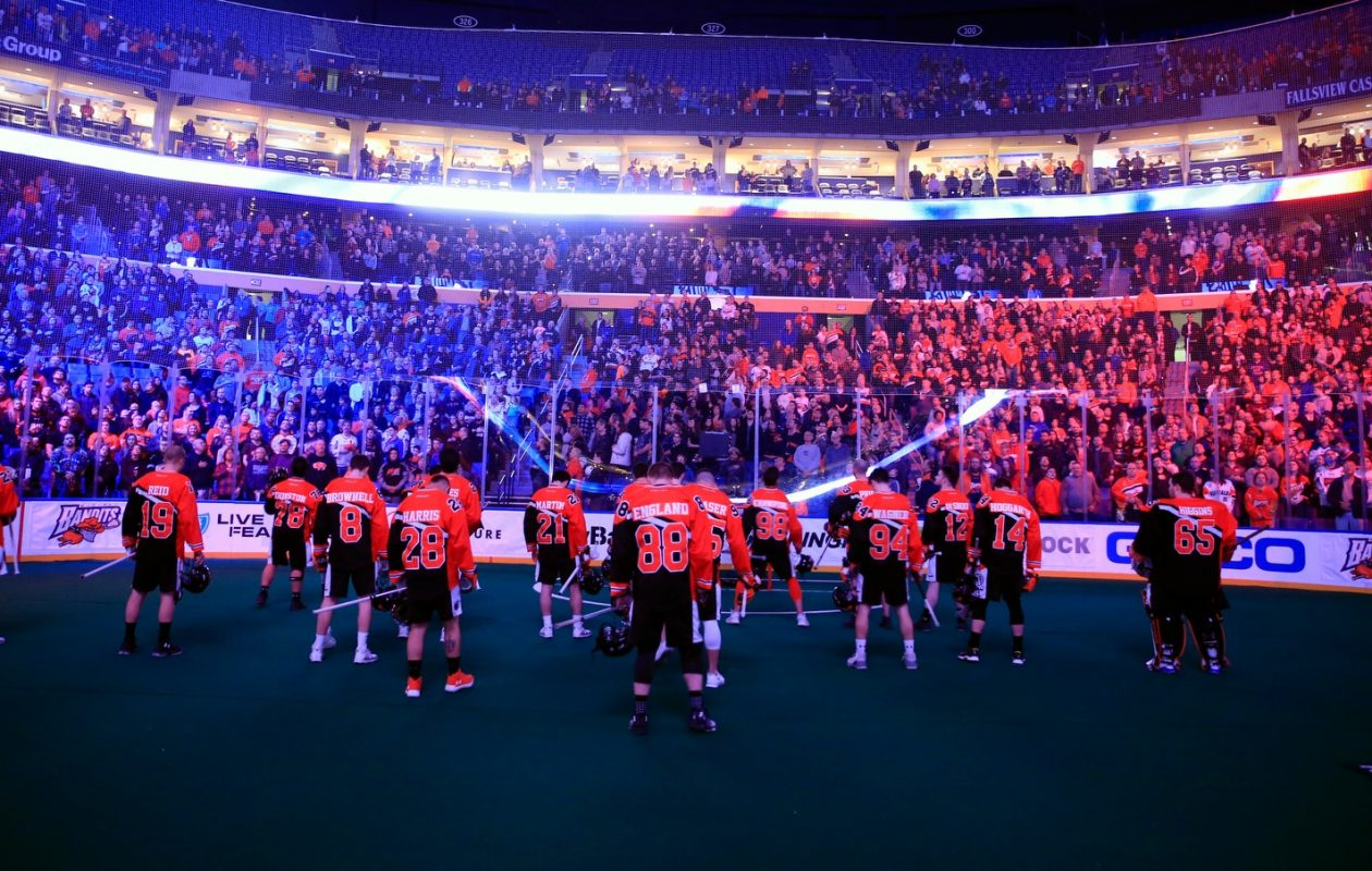 Buffalo Bandits stand for the national anthem prior to playing the Rochester Knighthawks at the KeyBank Center on Saturday, Feb. 24, 2018. (Harry Scull Jr./Buffalo News)