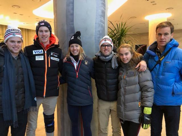 Olympian Tricia Mangan (second from left) is joined in South Korea by her five siblings. (Mangan family photo)