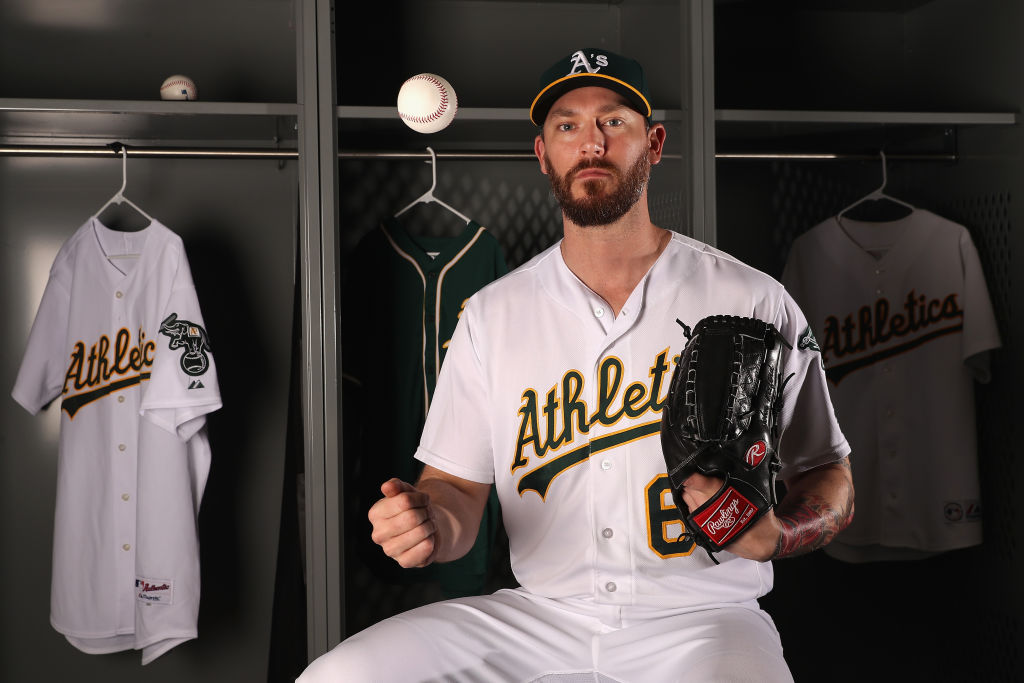 Reliever John Axford, who pitched last year for Oakland, is the first former Canisius College player in MLB since 1899 (Getty Images).