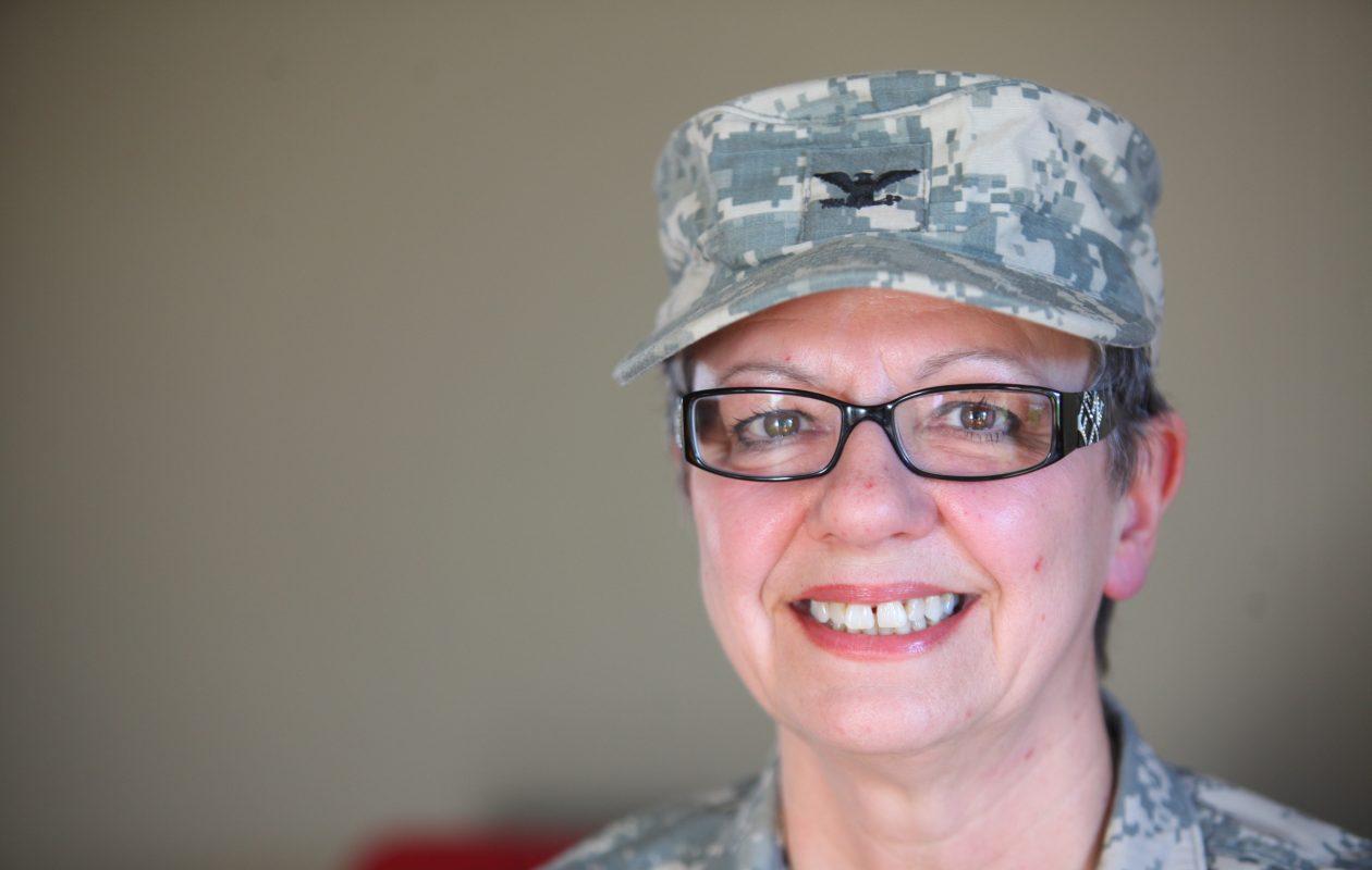Cheryl Celotto, a retired Army reserve nurse, in her Tonawanda home  on  April 4, 2012.   (Harry Scull Jr. / Buffalo News)