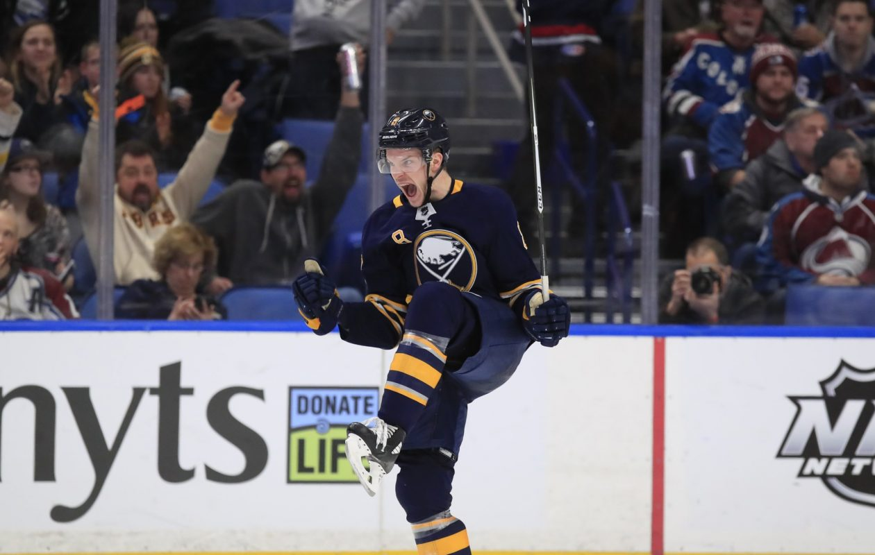 Sabres defenseman Casey Nelson celebrates his first NHL goal in his 30th game Sunday. (Harry Scull Jr./Buffalo News)