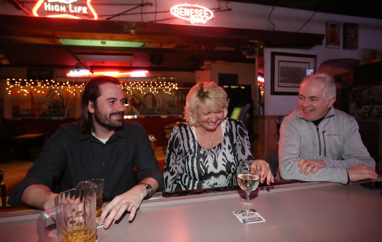 Hanging out at Electric Avenue, from left, are Mikey Barry of Buffalo, Susan Whittaker of Fort Erie and Mark Griffin of Buffalo. (Sharon Cantillon/Buffalo News)