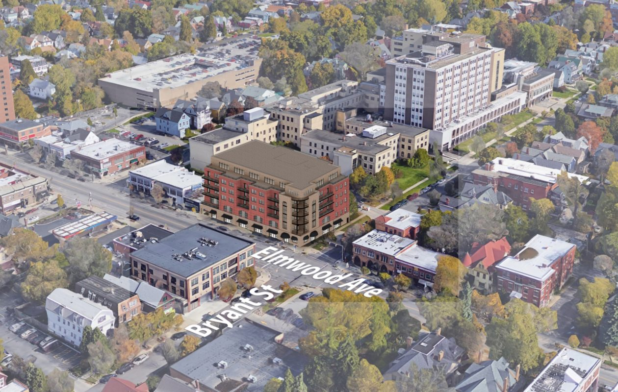 A rendering of the reuse plan for the site of the former Women & Children's Hospital. Sinatra & Co. Real Estate and William Paladino's Ellicott Development Co. unveiled new details of their plan last week.