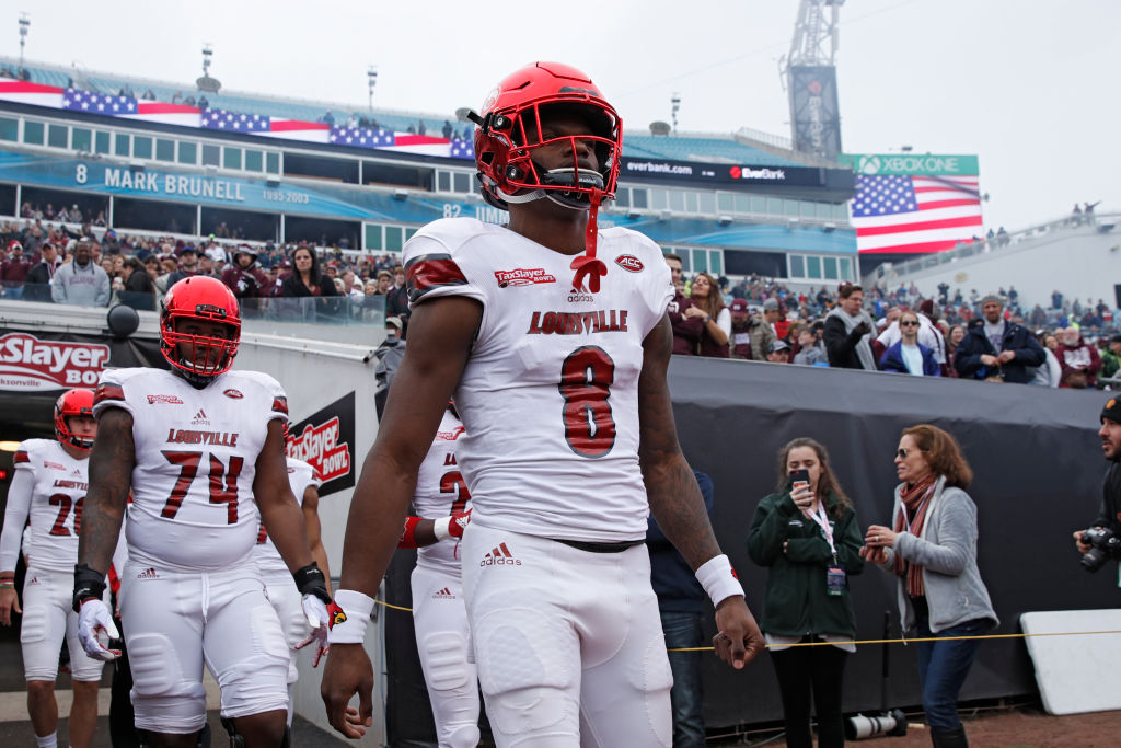 Lamar Jackson of Louisville takes the field prior to the TaxSlayer Bowl (Joe Robbins/Getty Images)