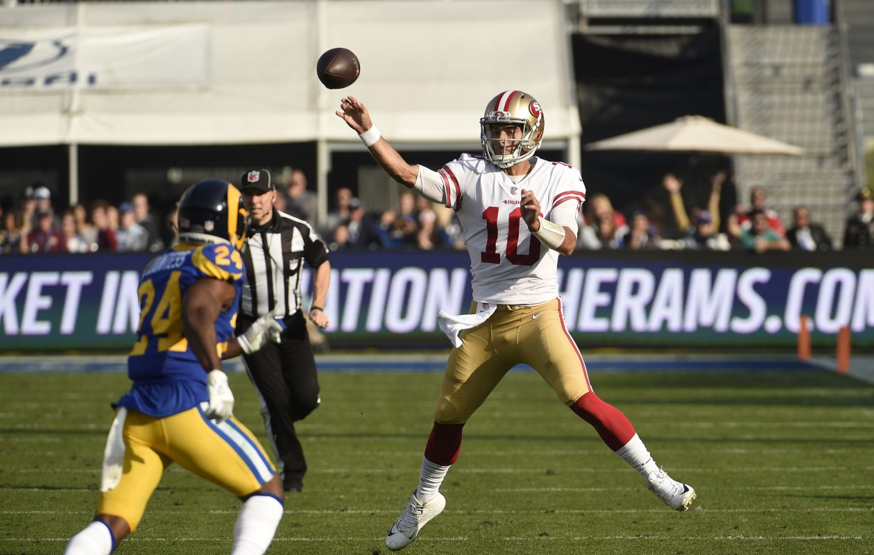 Quarterback Jimmy Garoppolo of the San Francisco 49ers (Kevork Djansezian/Getty Images)