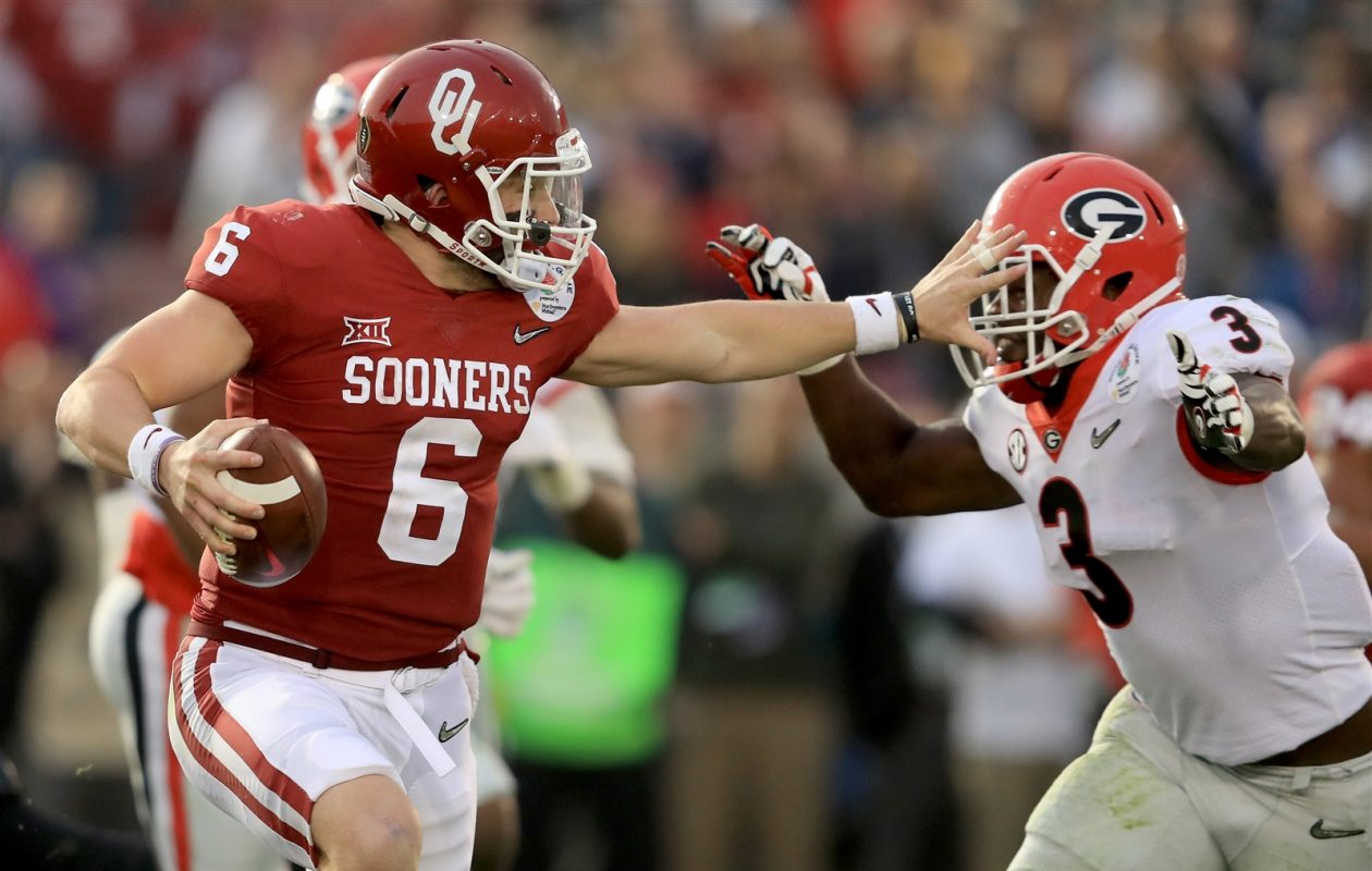 Will Baker Mayfield become a Buffalo Bill? Jay Skurski says yes -- thanks to a big trade -- in his first mock draft. (Getty Images)