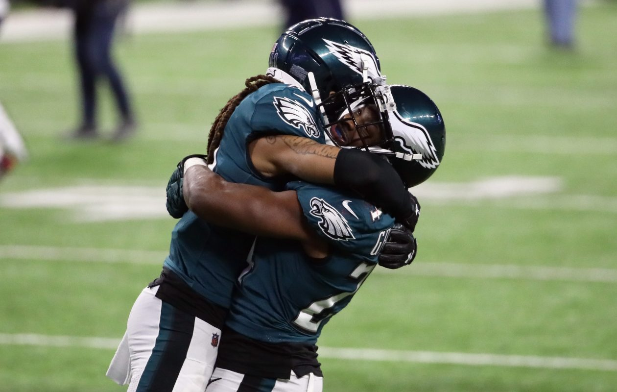 Ronald Darby and  Corey Graham of the Philadelphia Eagles celebrate (Jonathan Daniel/Getty Images)