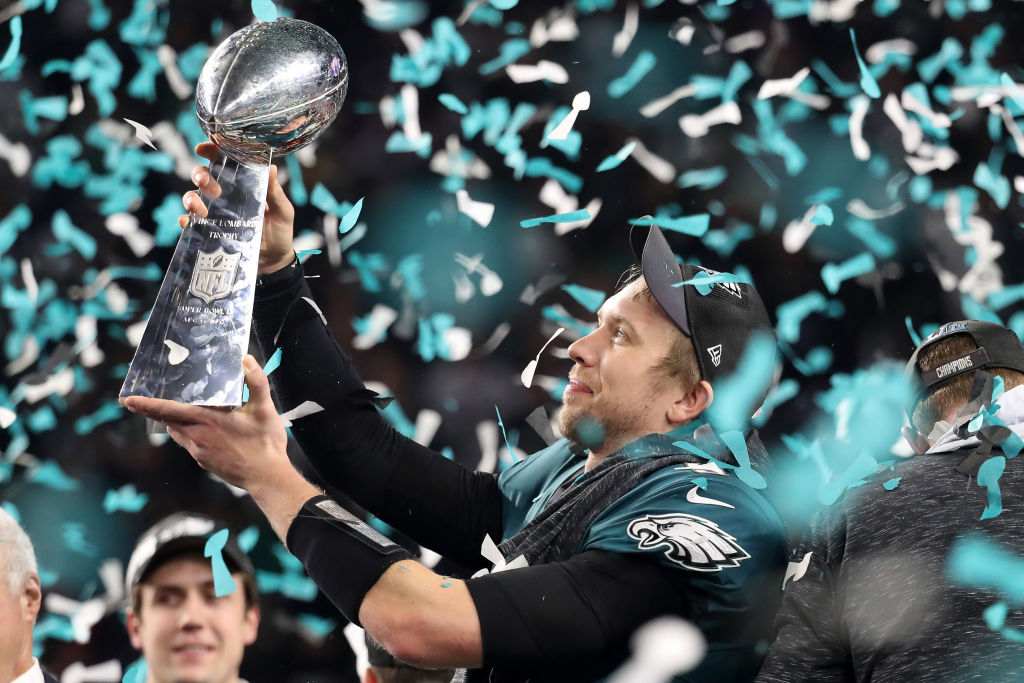 Eagles QB Nick Foles celebrates with the Vince Lombardi Trophy. What's next for the Eagles' backup QB?  (Getty Images)