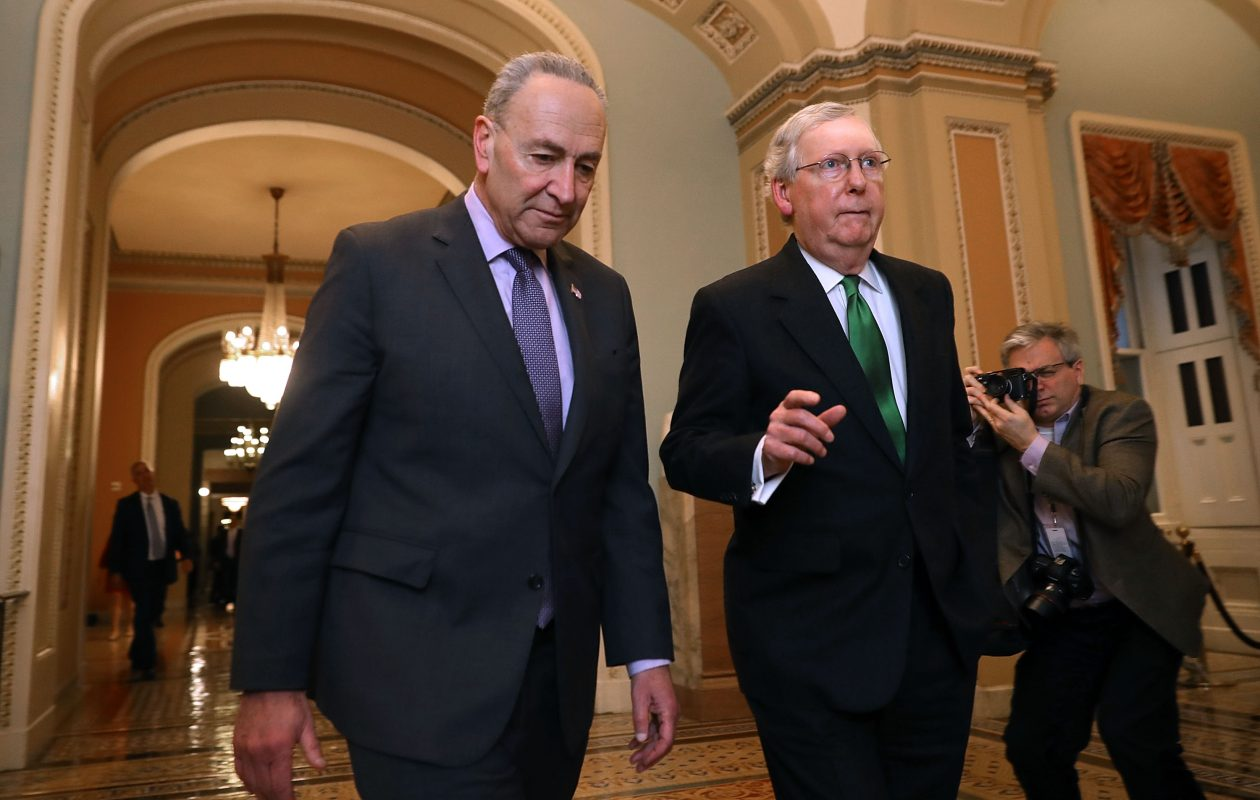 Senate Minority Leader Charles Schumer.D-N.Y.,  and Senate Majority Leader Mitch McConnell, R-Ken., announced a budget-busting spending agreement on Wednesday (Getty Images)