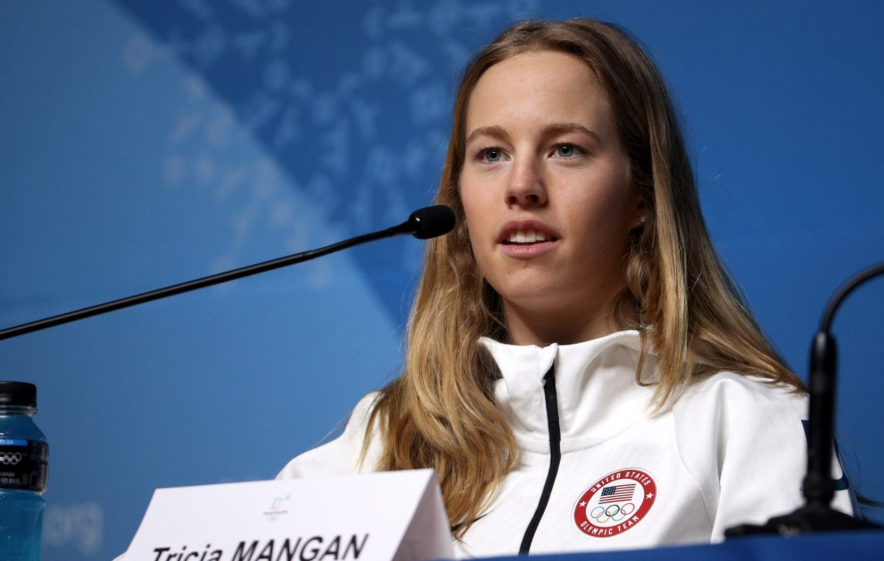Tricia Mangan at a press conference at the Olympics (Photo by Chris Graythen/Getty Images)