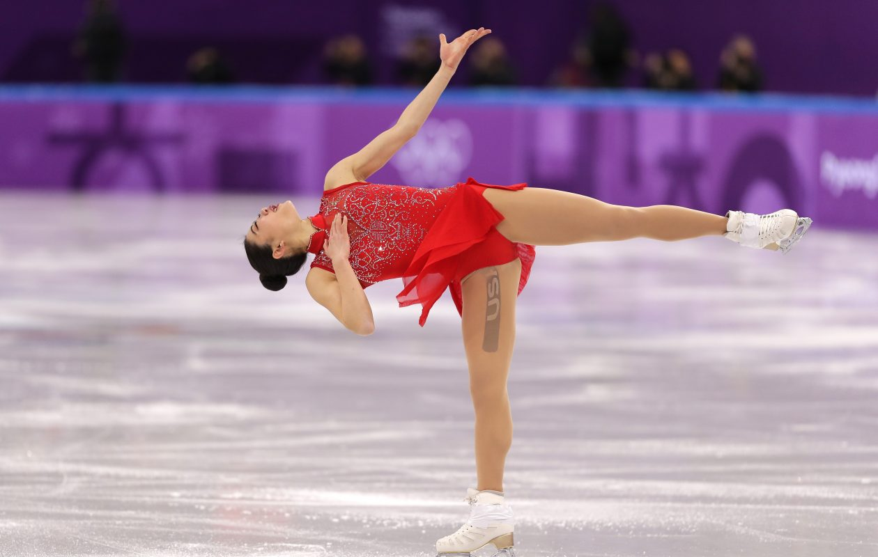 TV viewers thought Mirai Nagasu had a large tattoo on her leg (Richard Heathcote/Getty Images)