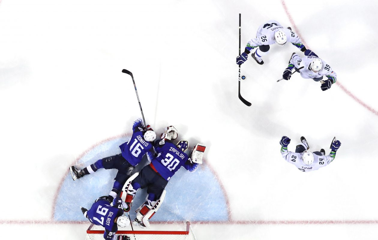 Jan Mursak (39) of Slovenia celebrates after scoring the game-winning goal against Ryan Zapolski (3)0 of the United States in overtime of the Men's Ice Hockey Preliminary Round Group B game on day five of the Pyeongchang 2018 Winter Olympics at Kwandong Hockey Centre on Feb. 14, 2018, in Gangneung, South Korea.  (Photo by Harry How/Getty Images)