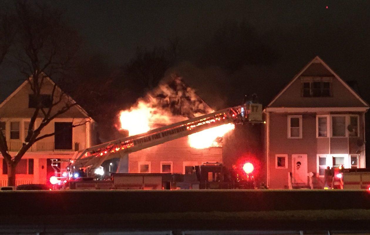 Buffalo fire crews responded to a fast-moving blaze at 372 Humboldt Parkway Sunday night. (Photo by Ellen Przepasniak)