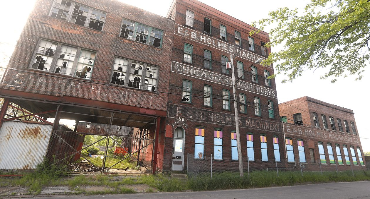 The Cooperage property, also known as the E&B Holmes Machinery Co., near Ohio Street. (John Hickey/News file photo)