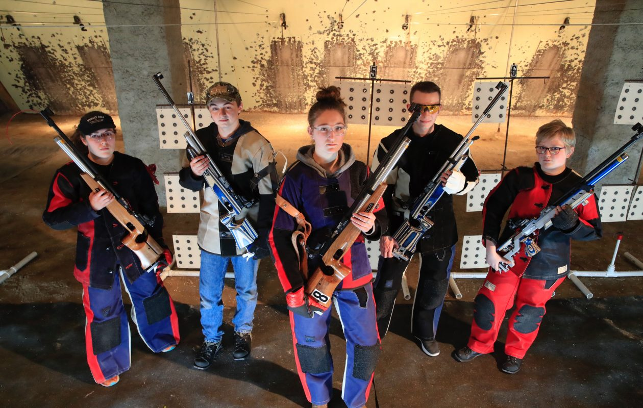 The Lancaster rifle team, from left, Emma Randall, Mason Kowalski, Janel Koeth, Alex Hangen and Kiersten Mucha, have their eyes set on Section VI titles this season. (Harry Scull Jr./Buffalo News)