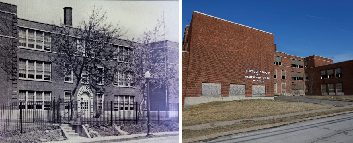 Then and now. The once-thriving Lincoln School, left, needs to be demolished. But the cost is preventing it. (Robert Kirkham/Buffalo News)