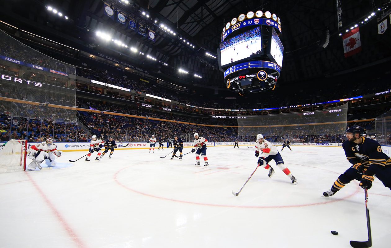 Marco Scandella works the puck against the Floirda Panthers Thursday in KeyBank Center (Harry Scull Jr./Buffalo News)
