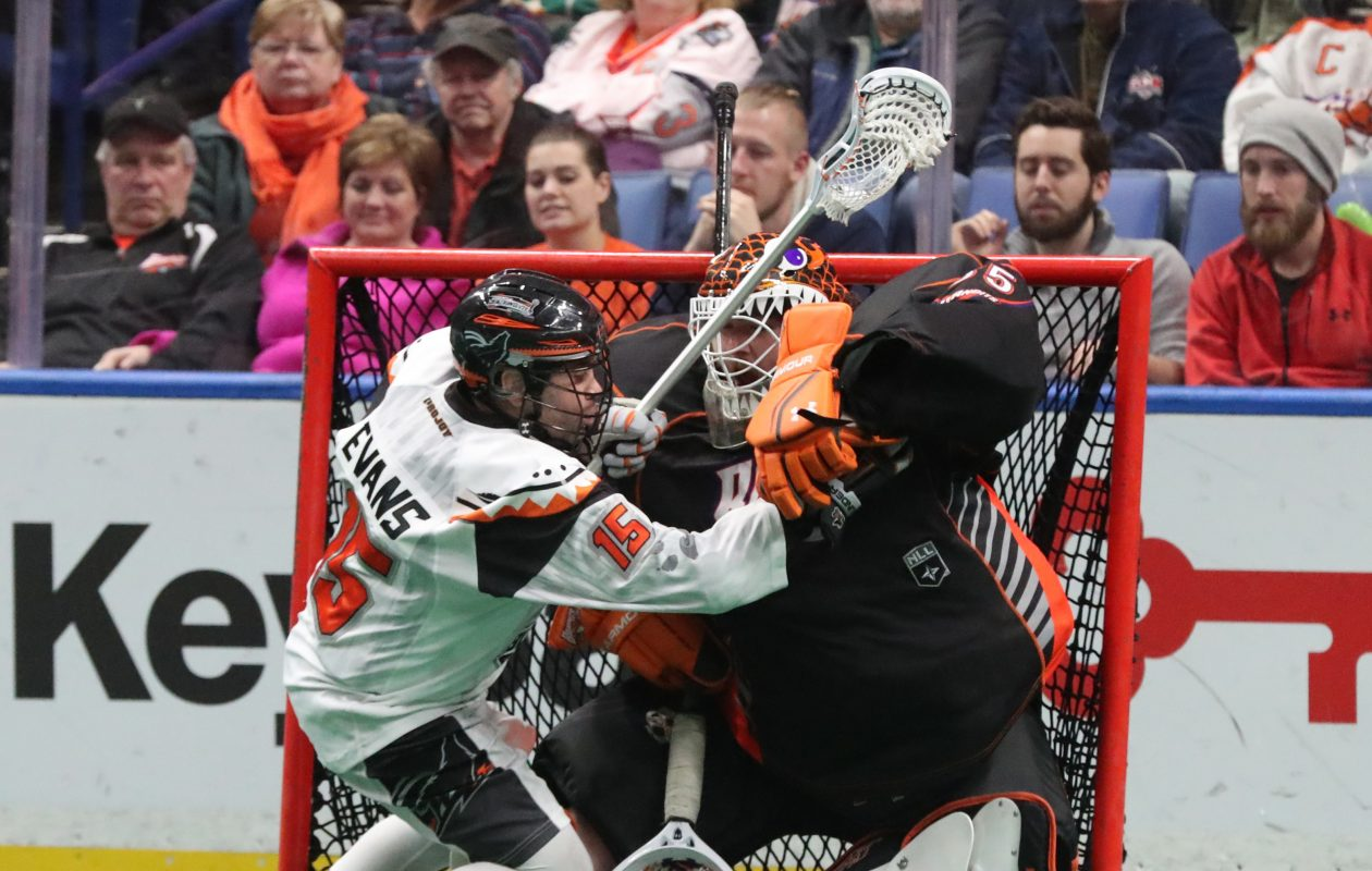 Shawn Evans is known for a rugged style of play that he now brings from the New England Black Wolves to the Buffalo Bandits.  (James P. McCoy/Buffalo News)