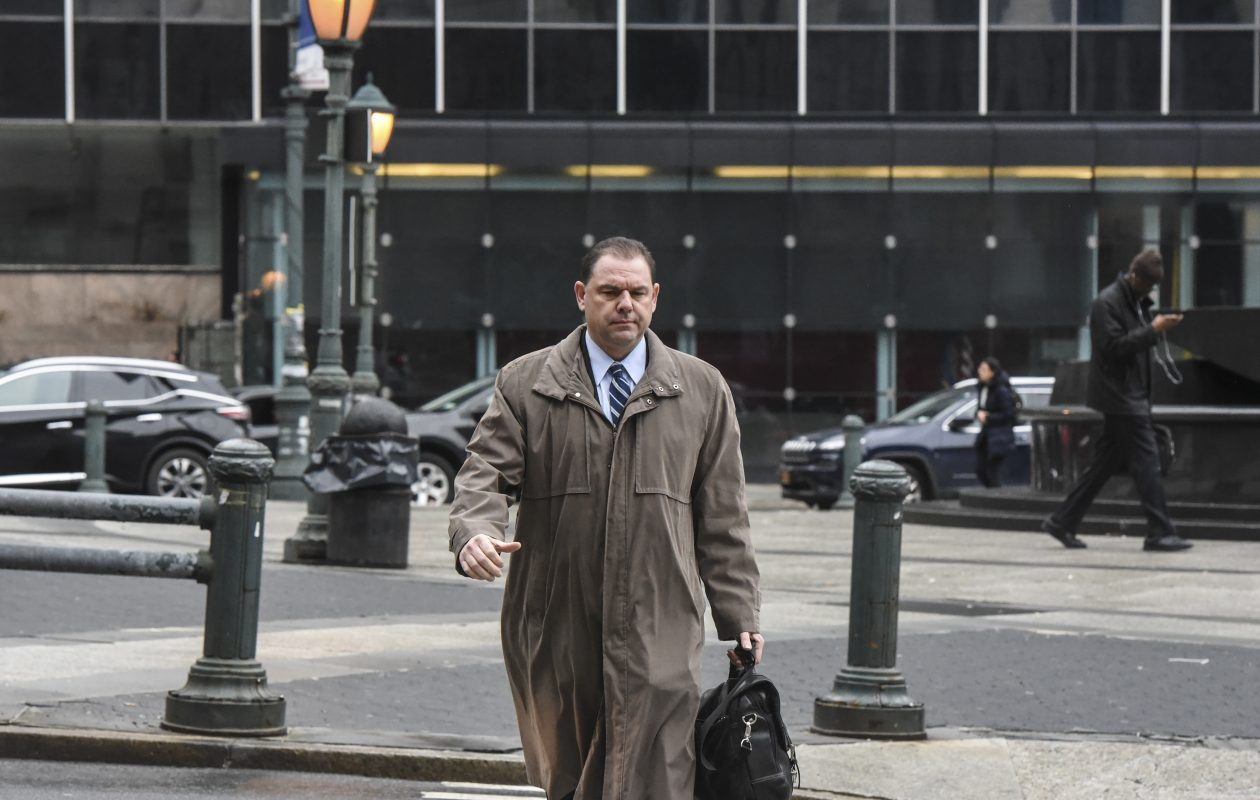 Joseph Percoco arrives for his corruption trial in New York City on Feb. 16, 2018. (Stephanie Keith/New York Times)