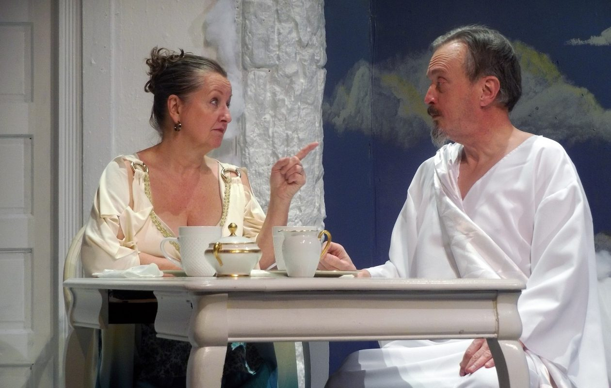 Pamela Rose Mangus and David Lundy are great as domesticated versions of God and Mrs. God in Way Back When at New Phoenix Theatre.