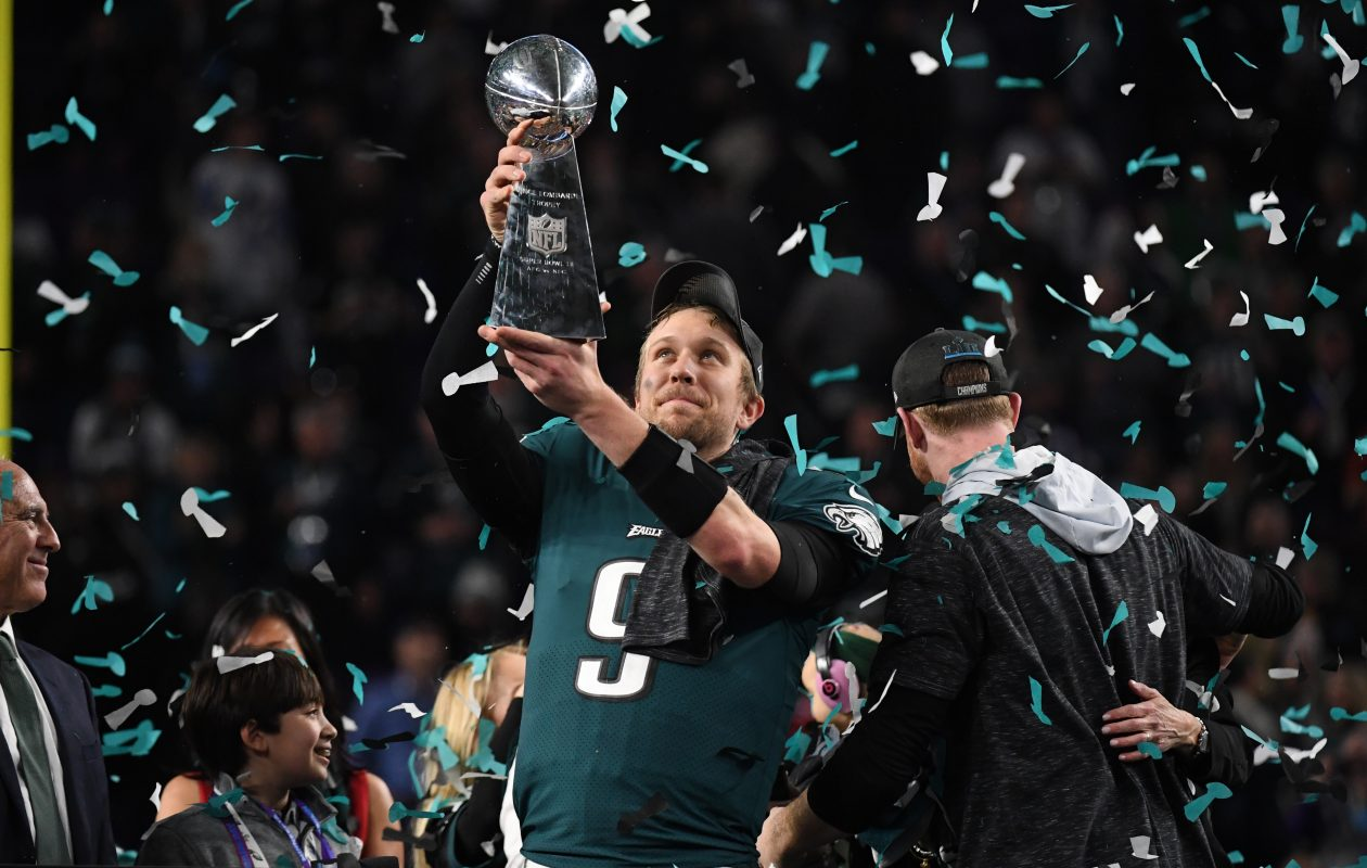 Quarterback Nick Foles of the Philadelphia Eagles celebrates a Super Bowl win  (Timothy A. Clary/AFP/Getty Images)