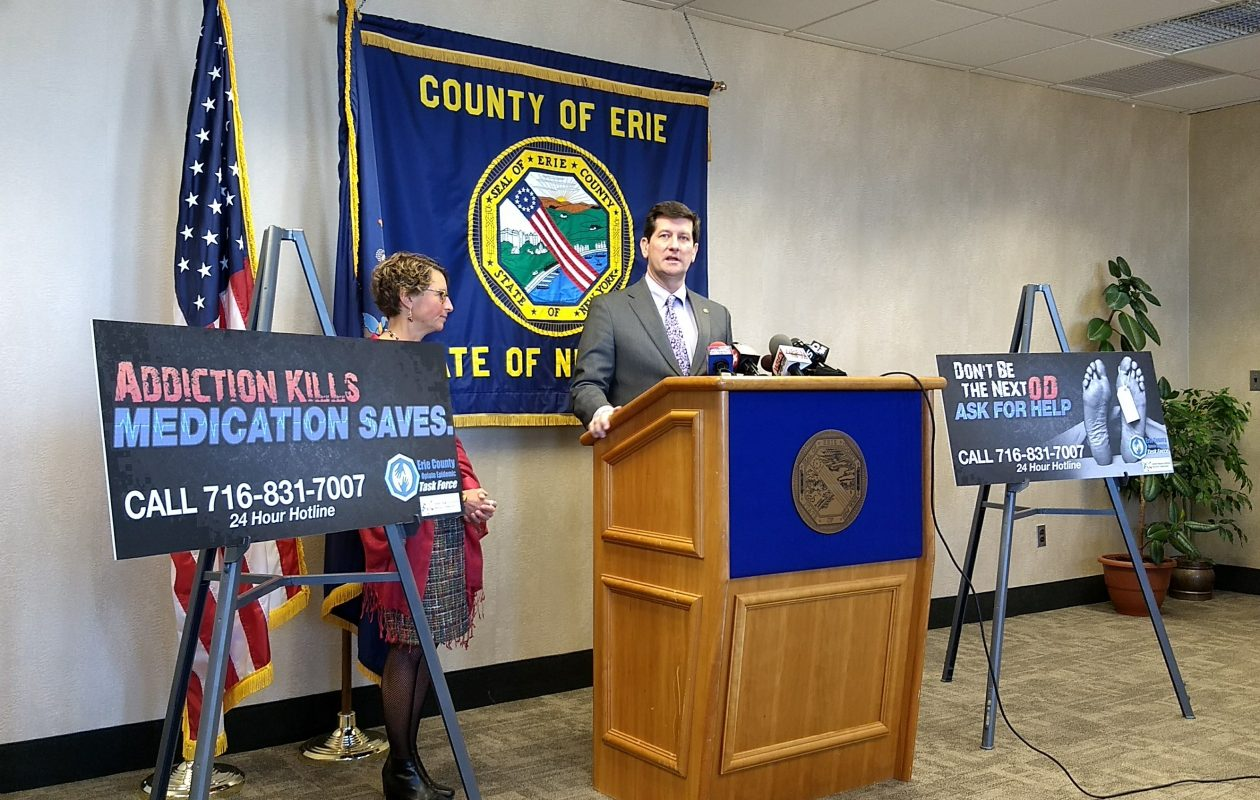 Erie County Executive Mark Poloncarz and Health Commissioner Dr. Gale Burstein announce a reduction in the opioid overdose death rate. (Sandra Tan/Buffalo News)