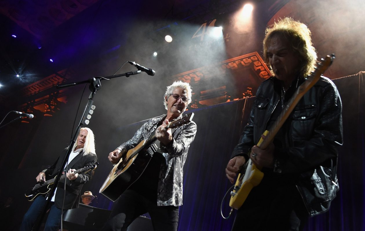 Bruce Hall, Kevin Cronin, and Dave Amato of REO Speedwagon perform in New York City in 2015. The band will pair with Chicago for a gig at Darien Lake. (Mike Coppola/Getty Images for T.J. Martell)
