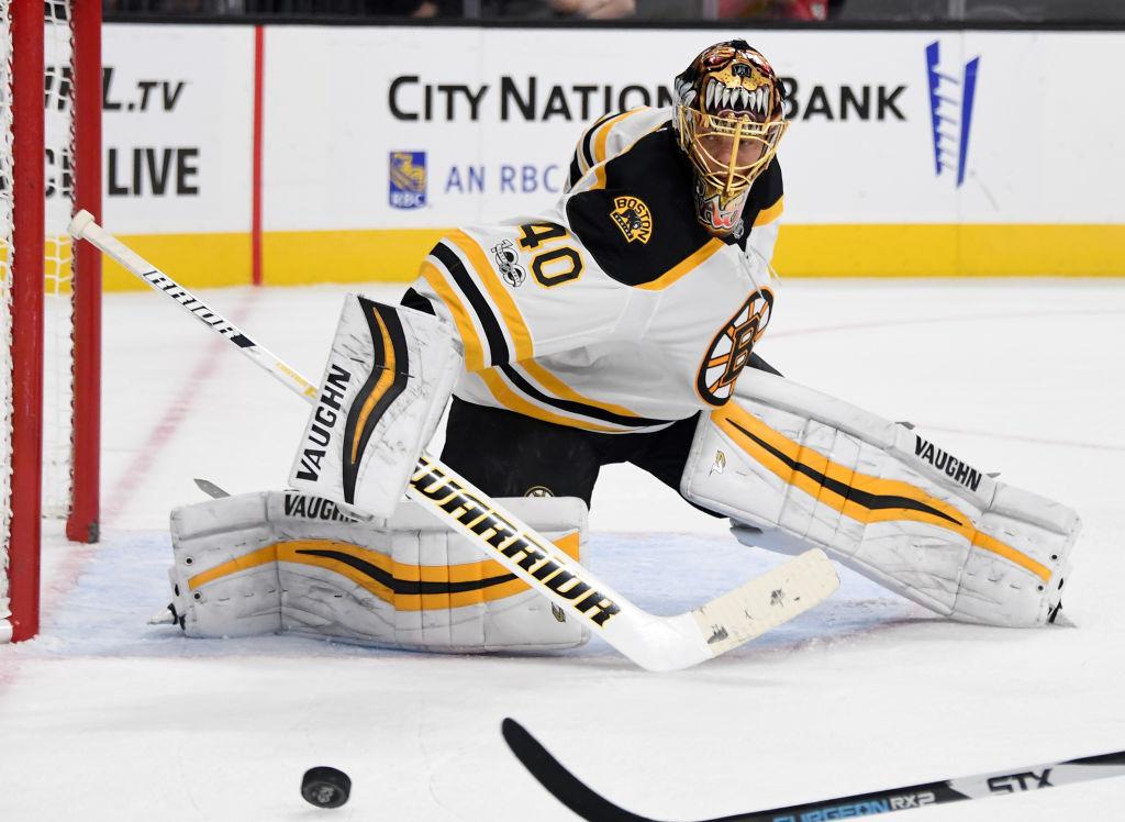 Boston goalie Tuukka Rask has taken a bite out of NHL opponents for 21 straight starts. (Getty Images)