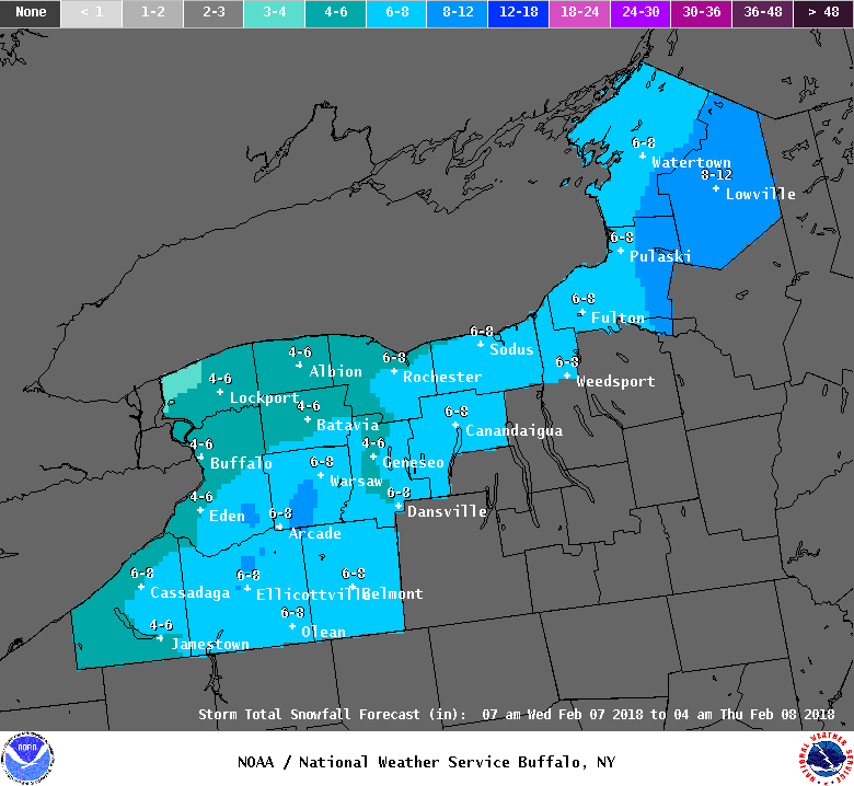 As much as 8 inches of snow is possible across some spots of Western New York on Wednesday because of a passing winter storm. The metro Buffalo area could see about 4 to 6 inches.  (National Weather Service)