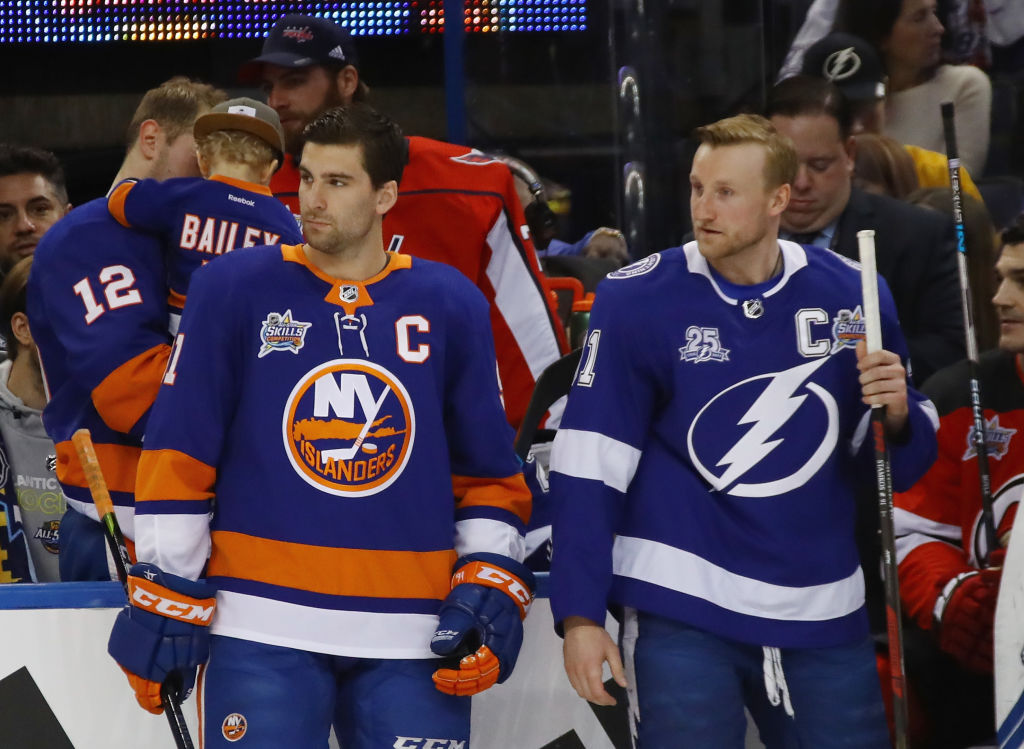 John Tavares, left, and Steven Stamkos keep an eye on the All-Star Skills Competition last week in Tampa (Getty Images).