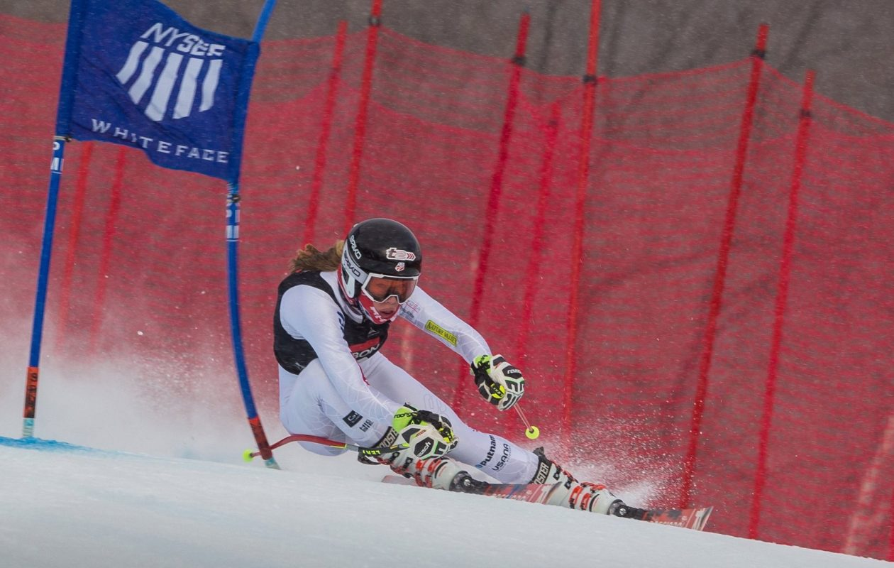 Derby's Tricia Mangan will return to the slopes Friday night. The first-round races of the Alpine team event are scheduled to begin at 9 p.m. ET. (Photo courtesy of Tricia Mangan)