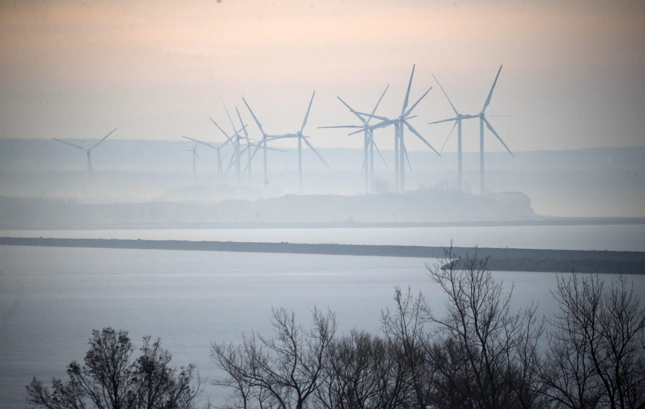 The wind turbines in Lackawanna on the shores of Lake Erie on Monday, Dec. 4, 2017. (Mark Mulville/News file photo)