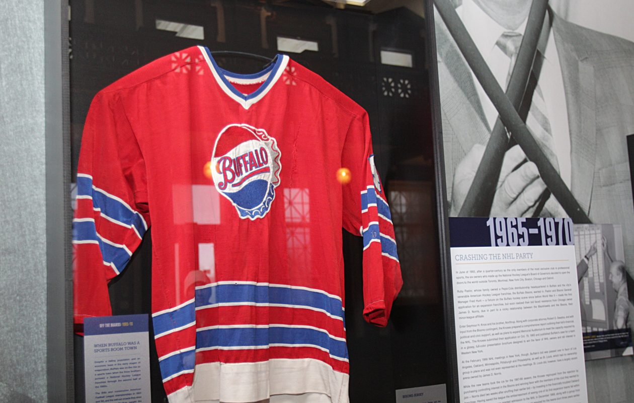 A jersey from the AHL's Buffalo Bisons, a precursor to the Buffalo Sabres, was part of a 2014 exhibition in the Buffalo History Museum. (Sharon Cantillon/News file photo)