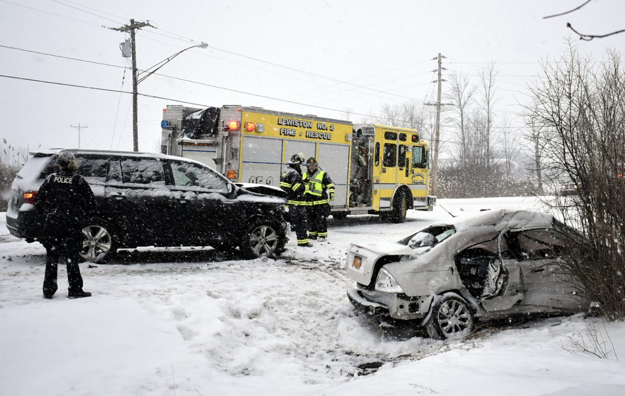 A head-on crash on Sanders Settlement Road in Lewiston Wednesday morning shut down the road. (Larry Kensinger/Special to The News)