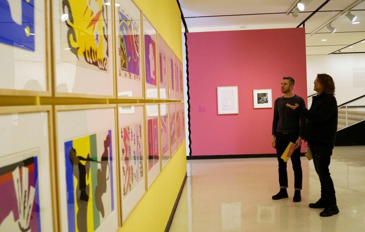 Buffalo News critics Colin Dabkowski, left, and Jeff Miers went to the Albright-Knox to 'hang out and babble profusely in the presence of profoundly great art.' (Derek Gee/Buffalo News)