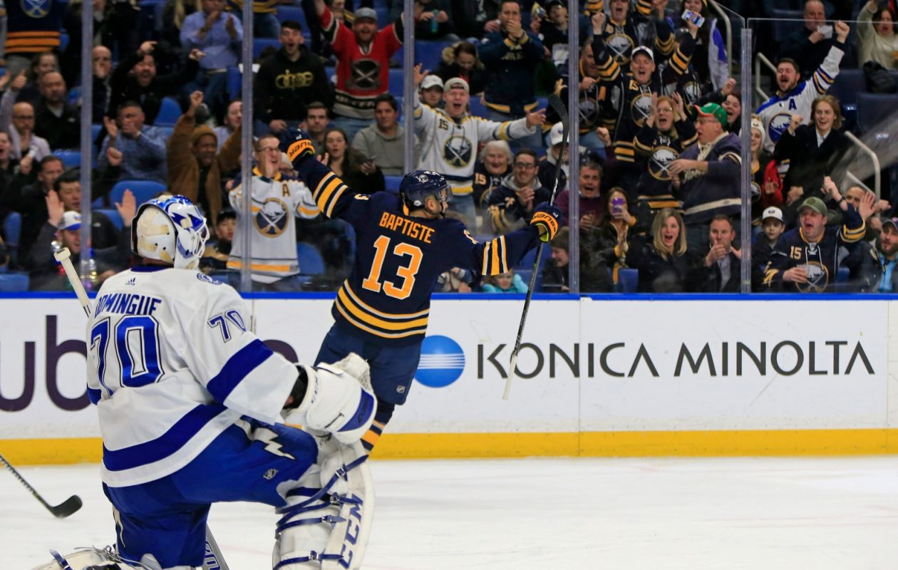 Nicholas Baptiste scored his second goal of the season on Tuesday. (Harry Scull Jr./Buffalo News)
