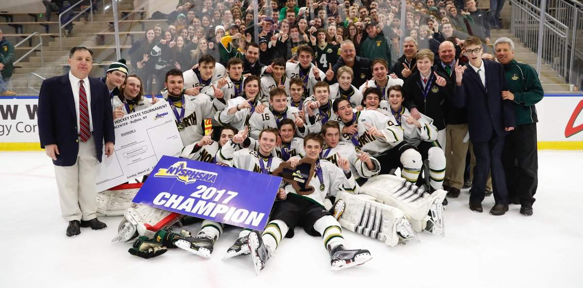 Williamsville North celebrates after winning the NYSPHSAA Division I state championship at HarborCenter last March. The state announced HarborCenter will remain the host site for the NYSPHSAA final four through 2021. (Harry Scull Jr./Buffalo News file photo)