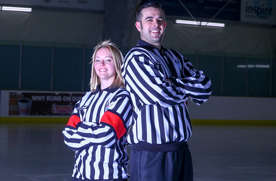 Dina Allen, a ref for women's tournament, and Fraser McIntyre, a linesmen for men's tournament, are the first amateur hockey officials from Western New York to head to the Olympics since 1994. (James P. McCoy / Buffalo News)