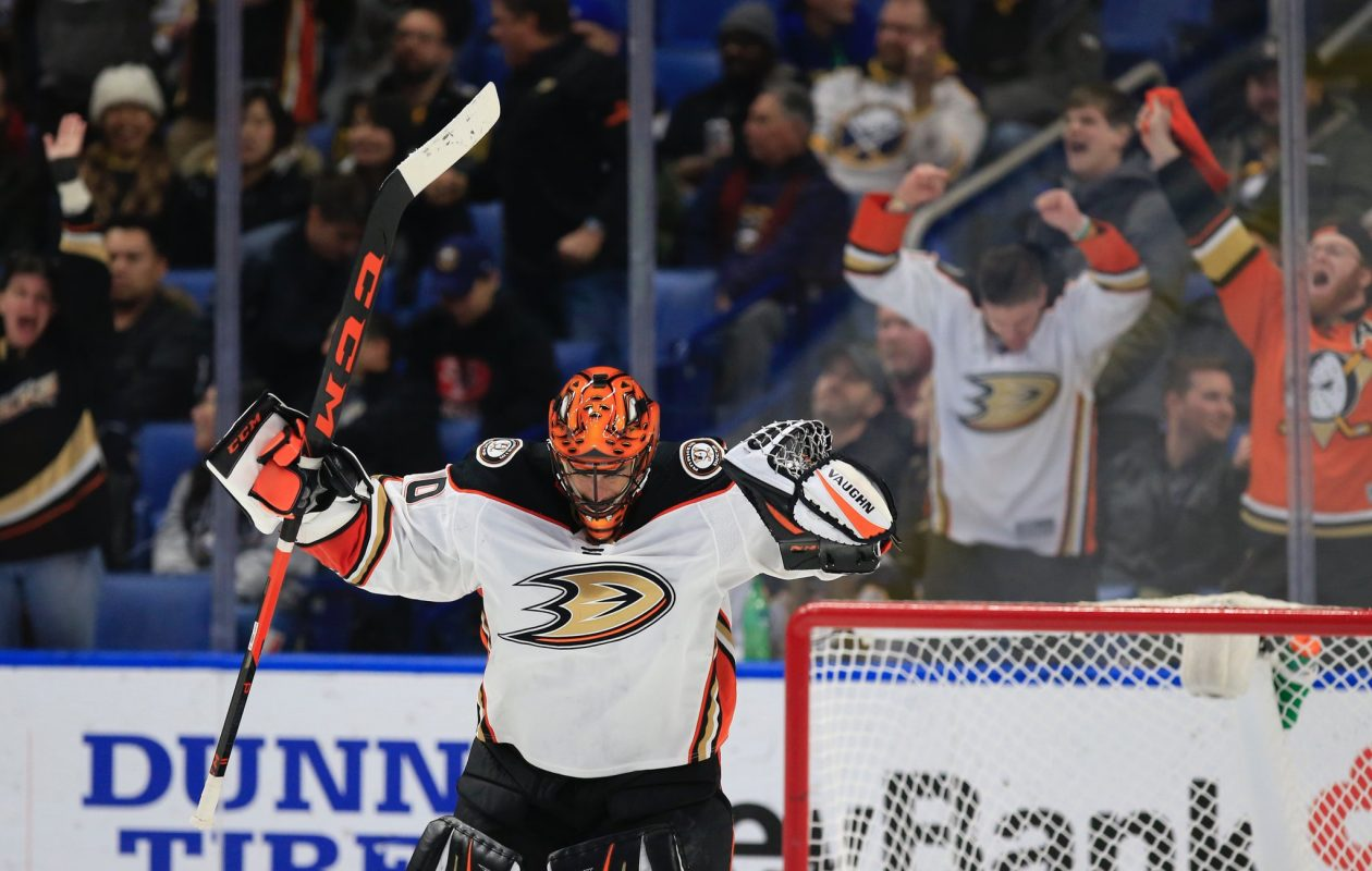 Ryan Miller got his first win as a visitor in KeyBank Center Tuesday. (Harry Scull Jr./Buffalo News)