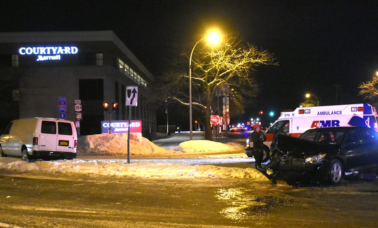 A van driver was charged with driving while intoxicated and second-degree vehicular assault after his van turned into the path of an Uber car at John Daly and Rainbow boulevards in Niagara Falls, police say. (Larry Kensinger/Special to The News)