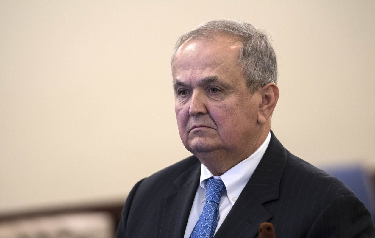 Former State Sen. George Maziarz is sentenced during a short proceeding in Judge Peter Lynch's court at the Albany Judicial Center on Friday.   (Skip Dickstein/Times Union)