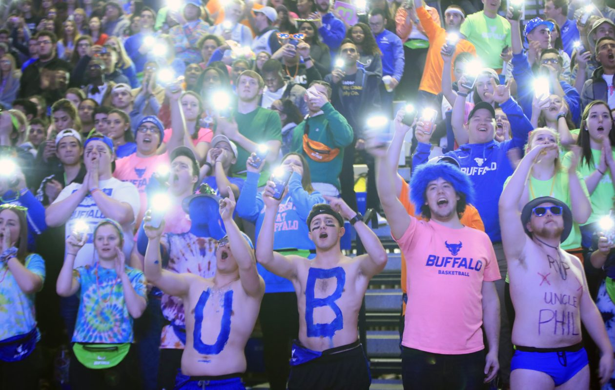 Universtiy at Buffalo fans cheer on their team against Western Michigan prior to first half action at Alumni Arena on Friday, Feb. 2, 2018. (Harry Scull Jr./ Buffalo News)